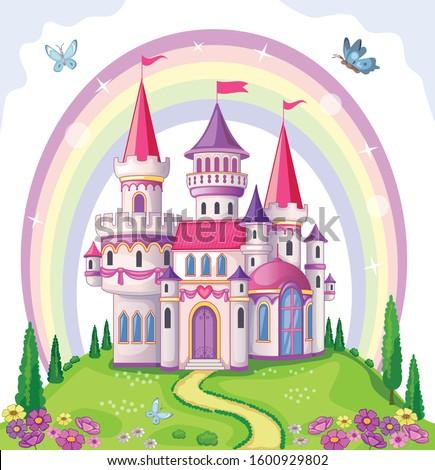 Fairy-tale castle for Princess, magic kingdom. Vintage Palace and beautiful flower meadow with rainbow. Wonderland. Children cartoon illustration. Romantic story. Vector.
