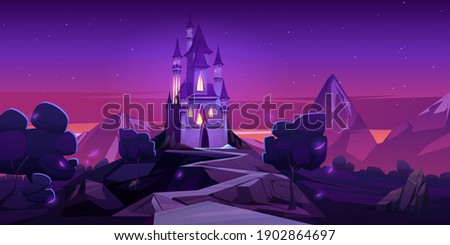 Fairy tale castle in mountains at night. Vector cartoon landscape of fairytale kingdom with rocks, trees and royal palace with towers and glowing windows. Fantasy medieval castle