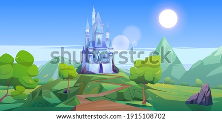 Fairy tale castle in mountains. Vector cartoon landscape of fairytale kingdom with rocks, trees, road and blue royal palace with towers and windows. Fantasy medieval castle