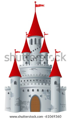 fairy tale castle on white
