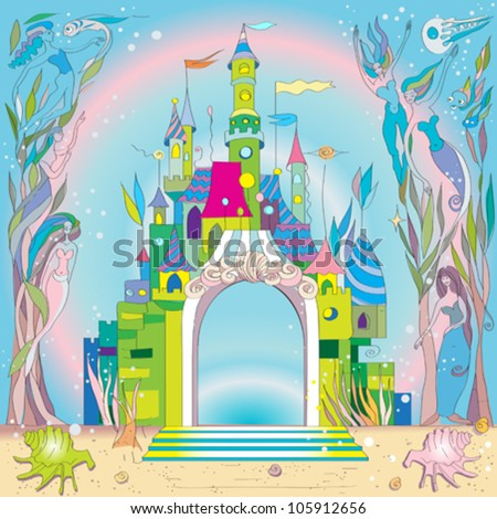 fairy tale castle under the sea, hand drawn composition with mermaids and fishes