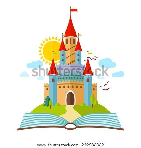 fairy tale castle vector flat