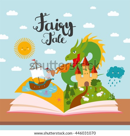 Fairy tale concept - kids illustration with evil dragon, ship on sea, dense forest, brave warrior and magic castle. Imagination coming to life in a children fantasy book. Stock foto ©
