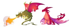 Fairy tale dragons, magic creature with tail and wings. Vector cartoon illustration of fire breathing monsters from medieval mythology, fantasy red and green flying beasts isolated on white background