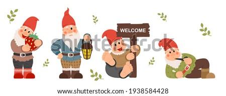 Fairy tale fantastic gnome dwarf elf character poses. Garden Gnome cartoon Set of fun illustrations Photo stock ©