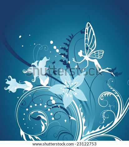 fairy-tale floral background. vector illustration - stock vector