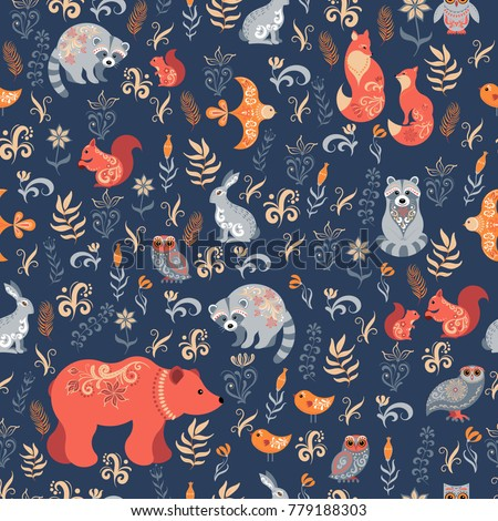 Fairy-tale forest. Fox, bear, raccoon, owls, rabbits, flowers and herbs on a blue background. Seamless pattern.