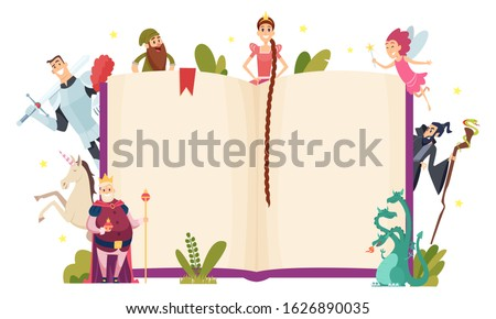 Fairy tale frame. Decorative background with fantasy characters book in cartoon style vector template Foto stock ©