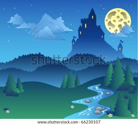 Fairy tale landscape at night 1 - vector illustration.