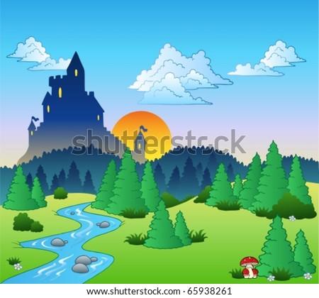 fairy tale landscape 1   vector