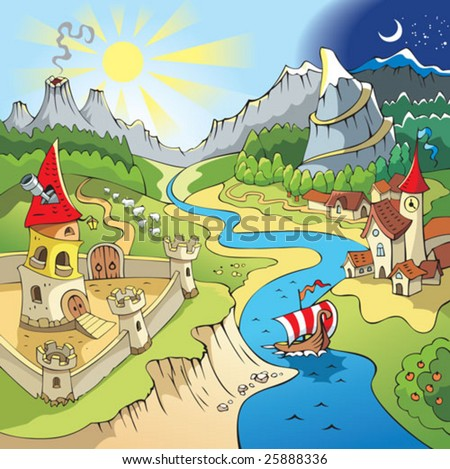 Fairy tale landscape, wonder land with castle and town, cartoon vector illustration - stock vector