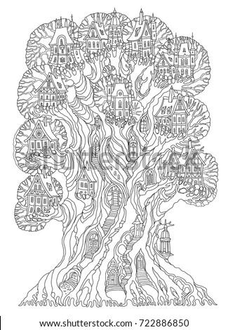 fairy tale oak tree with castle