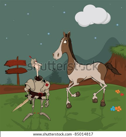 Fairy tale on the knight and proud horse. Cartoon