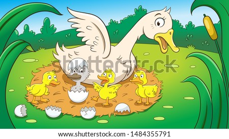 Fairy tale ugly duckling,vector illustration. Aspect ratio 16:9 Foto stock ©