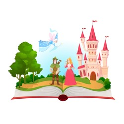 Fairy tales book. Fantasy tale characters, magic life library. Open book with fantasy kingdom castle. Kids dream vector background fairty child comic reading illustration