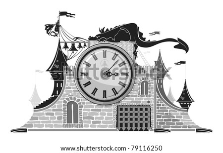 Fairy tales clock, gray scale, vector