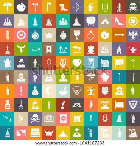 fairy tales icons set  magic