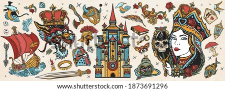 Fairy tales old school tattoo vector collection. Medieval castle, queen in the golden, crown, dragon, knight, viking boat, sword and princess frog. Middle Ages magic legends. Fantasy tattooing style