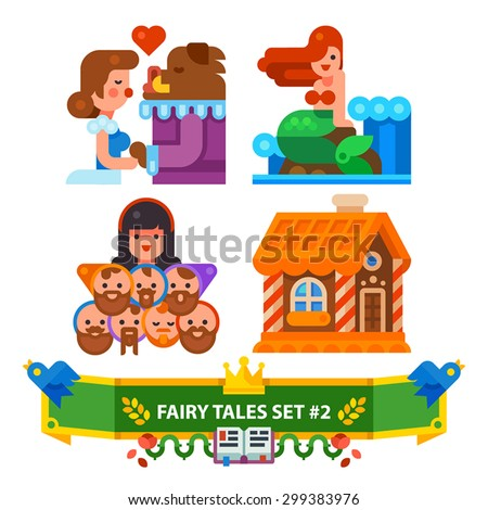 fairy tales set vector flat