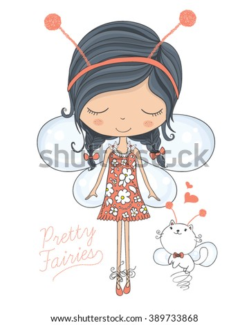 Shutterstock fairy vector/cute girl vector/T-shirt print/Book illustrations for children/Romantic hand drawing poster/cartoon character/For apparel or other uses in vector.