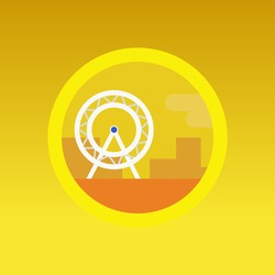 fairy wheel cityscape background illustration vector app icon in yellow background.
