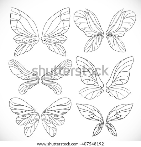 fairy wings outlines set
