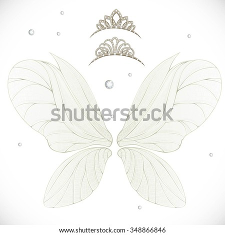 fairy wings with gold  tiaras