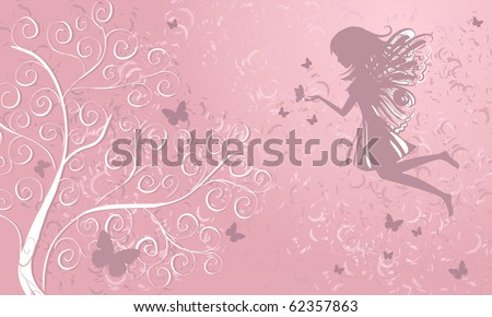 Fairy with butterflies near a tree - stock vector