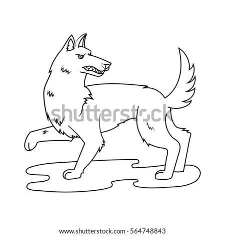 fairy wolf hand drawn cartoon
