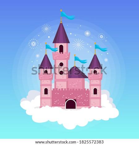 Fairytale castle for princess,  dragon magic kingdom castles. Castles Wonderland. fairytale Castle Children castle cartoon fairy tale castles illustration. Logo Castle romantic story fairytale Castles
