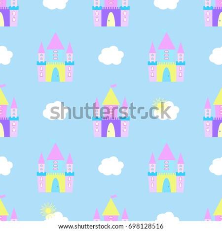 fairytale castle seamless