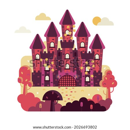 fairytale castle with 5 towers