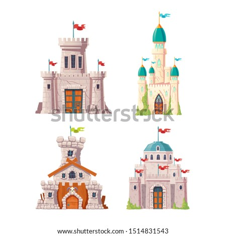 Fairytale castles, fantasy fortresses set. Medieval citadels with stone watchtowers, flags on spires, ivy growing on cracked walls. Abandoned stronghold ruins isolated, cartoon vector illustrations Сток-фото ©
