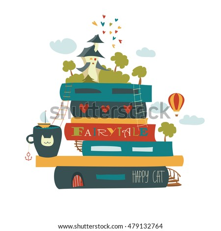 fairytale concept with book and