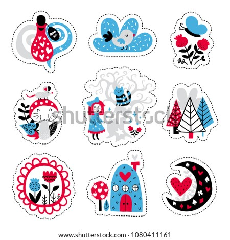 Fairytale cute elements. Color vector stickers. Illustration with girl and decor. Design for prints and cards.