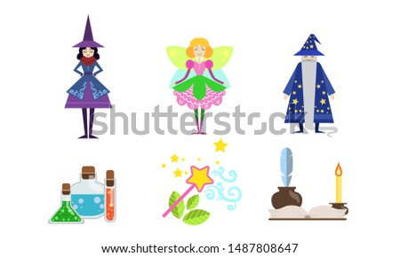 Fairytale Fantasy Characters with Magical Equipment Set, Witch, Fairy, Sorcerer, Potion, Magic Wand, Magic Book Vector Illustration