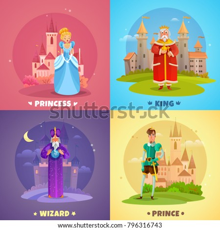 Fairytale heroes 2x2 design concept set of princess king prince wizard cartoon characters vector illustration