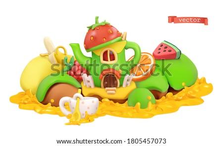Fairytale house. Sweet fruits. 3d vector cartoon illustration