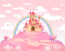 FairyTale landscape, the road leading to the princess castle. Vector illustration