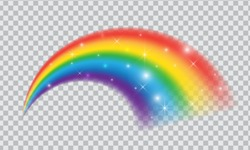 Fairytale rainbow icon isolated on transparent background. Fantasy symbol of good luck with shiny stars and sparkles.