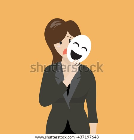 fake business woman holding a
