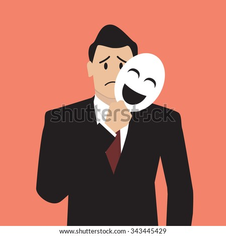 fake businessman holding a