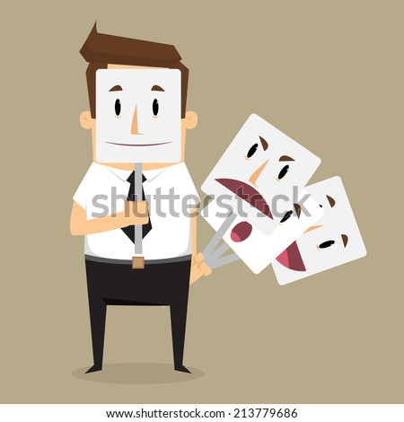 fake businessman wearing mask