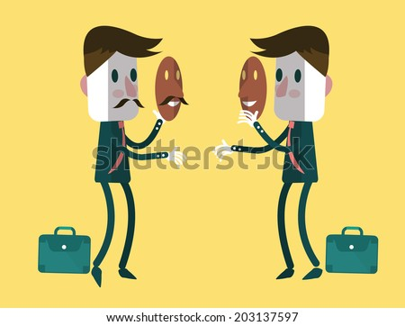 fake businessmen wearing smile