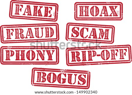 Fake, Fraud, Scam, Hoax, Rubber Stamps Сток-фото ©