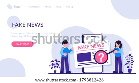 Fake news concept. Man and a woman view news articles on a smartphone screen. Check the information. Modern flat illustration. Photo stock ©