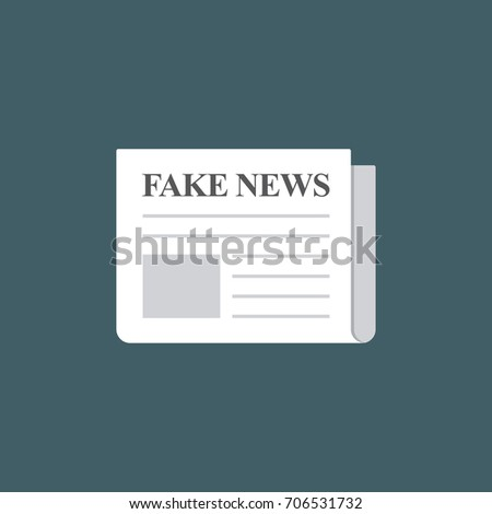 Fake News Newspaper Illustration. Flat Design of Newspaper with Fake News Headline