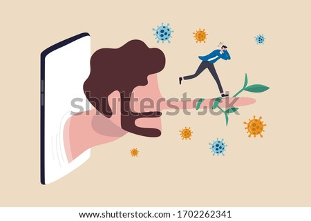 Fake news or misleading information of Coronavirus COVID-19 that people share on social media and internet, man panic running away on long nose liar talking people from social media app mobile phone. Photo stock ©