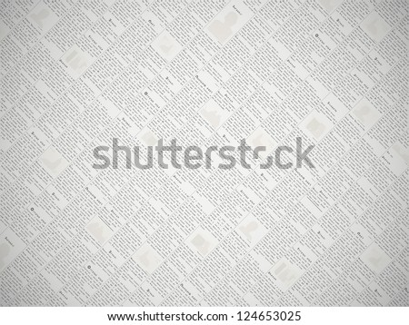 Fake newspaper with a non-existent language - vector background - stock vector