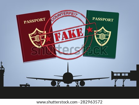 fake passports and airplane in